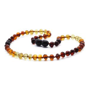 BALTIC AMBER NECKLACE FOR KIDS. BAROQUE RAINBOW V 5X4 MM