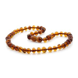 BALTIC AMBER TEETHING NECKLACE. BAROQUE COGNAC 6X5 MM