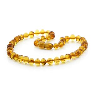 BALTIC AMBER TEETHING NECKLACE. BAROQUE LIGHT COGNAC 6X5 MM