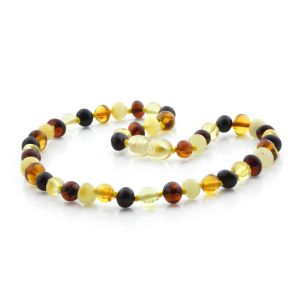 BALTIC AMBER TEETHING NECKLACE. BAROQUE MIX I 6X5 MM
