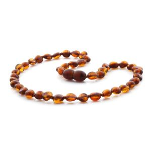 BALTIC AMBER TEETHING NECKLACE. SIDE DRILL  COGNAC 6X4 MM