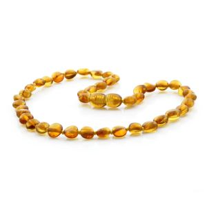 BALTIC AMBER TEETHING NECKLACE. SIDE DRILL LIGHT COGNAC 6X4 MM