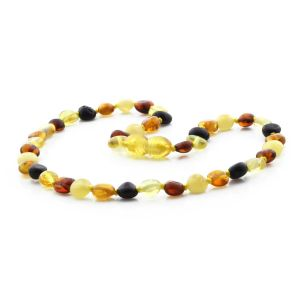 BALTIC AMBER TEETHING NECKLACE. SIDE DRILL MIX I 6X4 MM