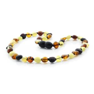 BALTIC AMBER TEETHING NECKLACE. SIDE DRILL MIX II 6X4 MM