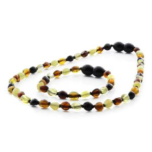 BALTIC AMBER NECKLACE & BRACELET SET FOR KIDS. OLIVE MULTICOLOR II 5X4 MM
