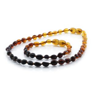 BALTIC AMBER TEETHING NECKLACE & BRACELET SET. OLIVE RAINBOW I C 5X4 MM
