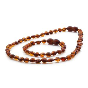 BALTIC AMBER TEETHING NECKLACE & BRACELET SET. SIDE DRILL COGNAC 6X4 MM