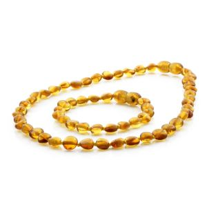 BALTIC AMBER TEETHING NECKLACE & BRACELET SET. SIDE DRILL LIGHT COGNAC 6X4 MM