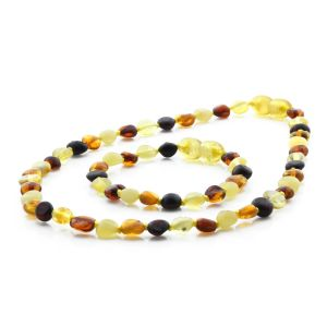 BALTIC AMBER TEETHING NECKLACE & BRACELET SET. SIDE DRILL MIX I 6X4 MM
