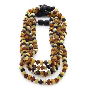 BALTIC AMBER NECKLACE FOR KIDS WHOLESALE LOT OF 5PCS. ROUNDEL. XR53M2-RAW