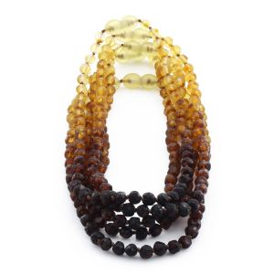 BALTIC AMBER NECKLACE FOR KIDS WHOLESALE LOT OF 5PCS. BAROQUE. XB55R1-RAW