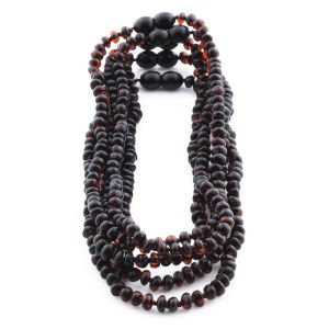 BALTIC AMBER NECKLACE FOR KIDS WHOLESALE LOT OF 5PCS. ROUNDEL. XR53DC
