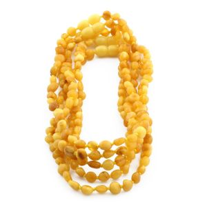 BALTIC AMBER NECKLACE FOR KIDS WHOLESALE LOT OF 5PCS. SIDE DRILL. XS54MO
