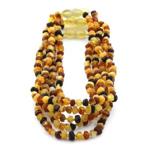 BALTIC AMBER NECKLACE FOR KIDS WHOLESALE LOT OF 5PCS. ROUNDEL. XR53M1-RAW