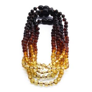 BALTIC AMBER NECKLACE FOR KIDS WHOLESALE LOT OF 5PCS. BAROQUE. XB55R2