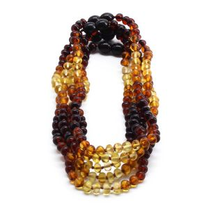 BALTIC AMBER NECKLACE FOR KIDS WHOLESALE LOT OF 5PCS. BAROQUE. XB54R5