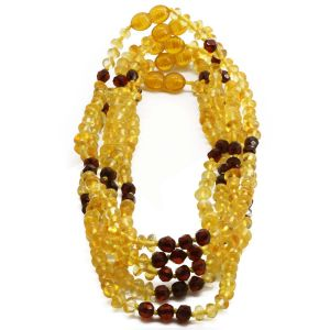 BALTIC AMBER NECKLACE FOR KIDS WHOLESALE LOT OF 5PCS. ROUNDEL. BE177