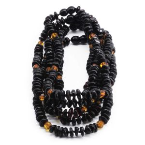 BALTIC AMBER NECKLACE FOR KIDS WHOLESALE LOT OF 5PCS. ROUNDEL. BE178