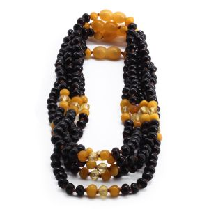 BALTIC AMBER NECKLACE FOR KIDS WHOLESALE LOT OF 5PCS. BAROQUE. LE362