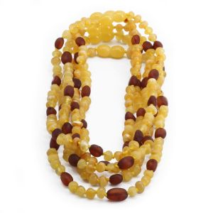 BALTIC AMBER NECKLACE FOR KIDS WHOLESALE LOT OF 5PCS. BAROQUE. LE363