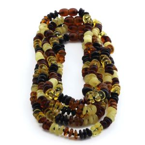 BALTIC AMBER NECKLACE FOR KIDS WHOLESALE LOT OF 5PCS. ROUNDEL. BE166
