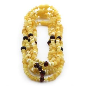 BALTIC AMBER NECKLACE FOR KIDS WHOLESALE LOT OF 5PCS. ROUNDEL. CE126