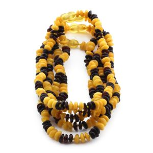BALTIC AMBER NECKLACE FOR KIDS WHOLESALE LOT OF 5PCS. ROUNDEL. LE313