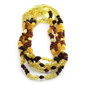 BALTIC AMBER NECKLACE FOR KIDS WHOLESALE LOT OF 5PCS. BAROQUE OLIVE. LE330