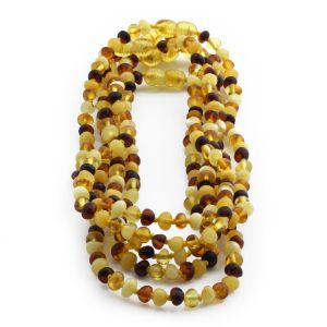 BALTIC AMBER NECKLACE FOR KIDS WHOLESALE LOT OF 5PCS. BAROQUE. XB54M1A