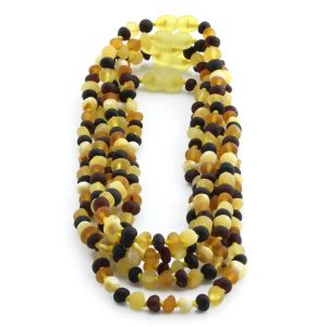 BALTIC AMBER NECKLACE FOR KIDS WHOLESALE LOT OF 5PCS. BAROQUE. XB54M1M