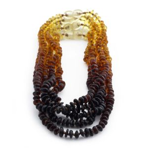 BALTIC AMBER NECKLACE FOR KIDS WHOLESALE LOT OF 5PCS. ROUNDEL. XR52R1