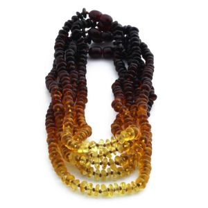 BALTIC AMBER NECKLACE FOR KIDS WHOLESALE LOT OF 5PCS. ROUNDEL. XR52R2