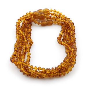 BALTIC AMBER NECKLACES FOR KIDS WHOLESALE LOT OF 5PCS. BAROQUE. XB43LC