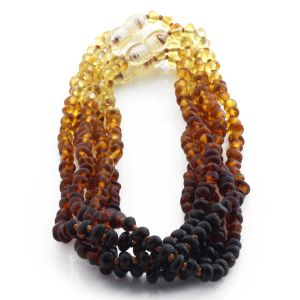 BALTIC AMBER NECKLACES FOR KIDS WHOLESALE LOT OF 5PCS. BAROQUE. XB43R1