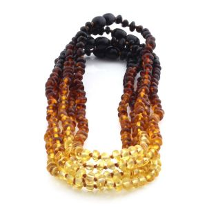 BALTIC AMBER NECKLACES FOR KIDS WHOLESALE LOT OF 5PCS. BAROQUE. XB43R2