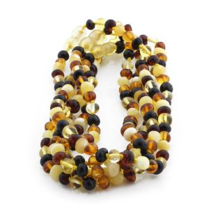 BALTIC AMBER NECKLACES FOR KIDS WHOLESALE LOT OF 5PCS. BAROQUE. XB65M1