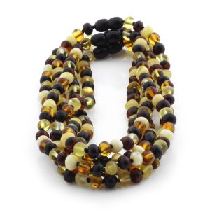 BALTIC AMBER NECKLACES FOR KIDS WHOLESALE LOT OF 5PCS. BAROQUE. XB65M2