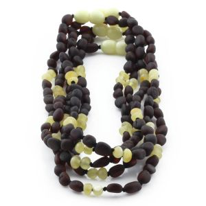 BALTIC AMBER NECKLACE FOR KIDS WHOLESALE LOT OF 5PCS. OLIVE. BE165