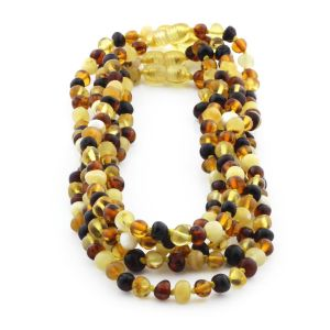BALTIC AMBER NECKLACE FOR KIDS WHOLESALE LOT OF 5PCS. BAROQUE. XB55M1