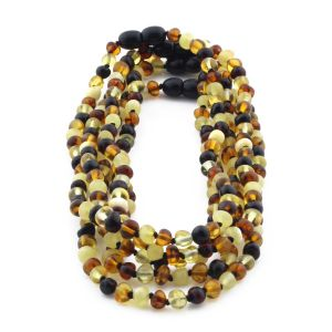 BALTIC AMBER NECKLACE FOR KIDS WHOLESALE LOT OF 5PCS. BAROQUE. XB55M2