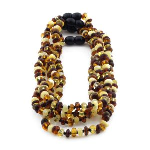 BALTIC AMBER NECKLACE FOR KIDS WHOLESALE LOT OF 5PCS. ROUNDEL. XR53M2