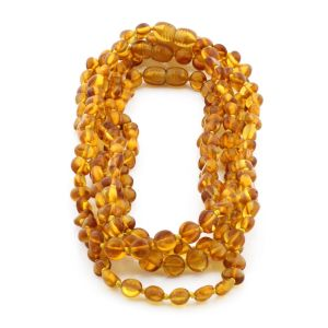BALTIC AMBER NECKLACE FOR KIDS WHOLESALE LOT OF 5PCS. SIDE DRILL. XS64LC