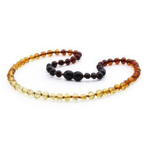 ADULT BALTIC AMBER NECKLACE. BAROQUE RAINBOW II 5X4 MM