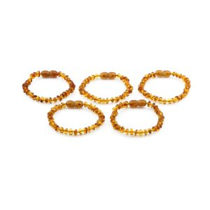 BALTIC AMBER BRACELET FOR KIDS WHOLESALE LOT OF 5PCS. ROUNDEL. XR53LC