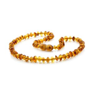 BALTIC AMBER TEETHING NECKLACE . ROUNDEL LIGHT COGNAC 5X3 MM