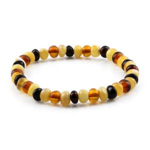 ADULT BALTIC AMBER BRACELET. ROUNDEL MIX 6X4 MM
