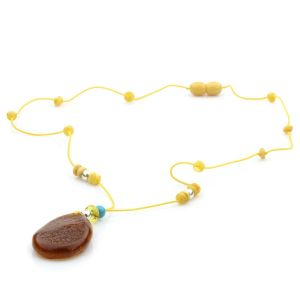 Genuine Baltic Amber Turquoise & 925 Sterling Silver Necklace With Pendant NWP18