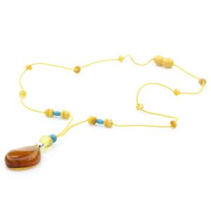 Genuine Baltic Amber Turquoise & 925 Sterling Silver Necklace With Pendant NWP20