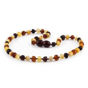 BALTIC AMBER TEETHING NECKLACE. BAROQUE. XB54M-RAW