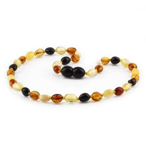 BALTIC AMBER TEETHING NECKLACE. OLIVE. XO54M2Y